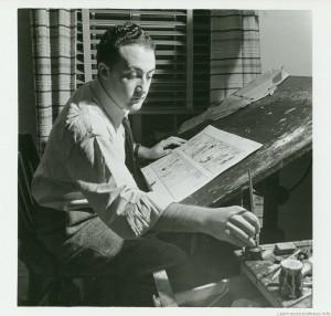 Will Eisner all'opera su una delle sue tavole